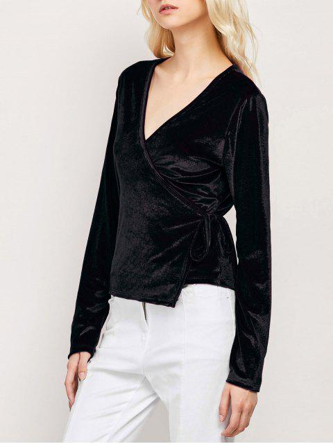 buy Long Sleeve Velvet Wrap Top - BLACK L Mobile