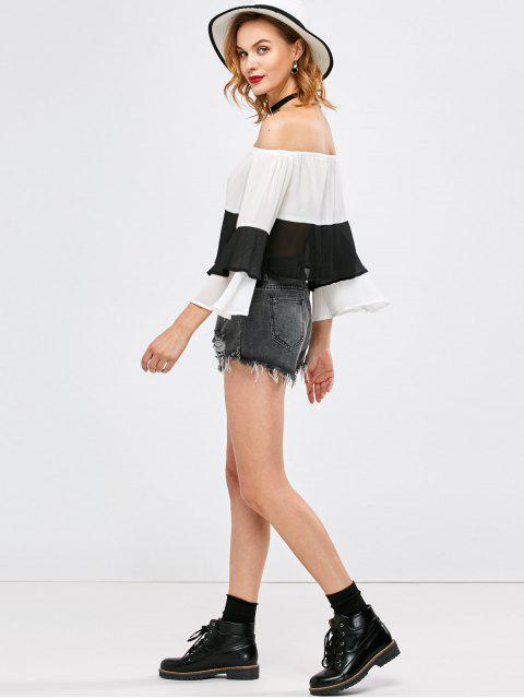 fashion Bell Sleeve Off Shoulder Color Block Blouse - WHITE AND BLACK S Mobile