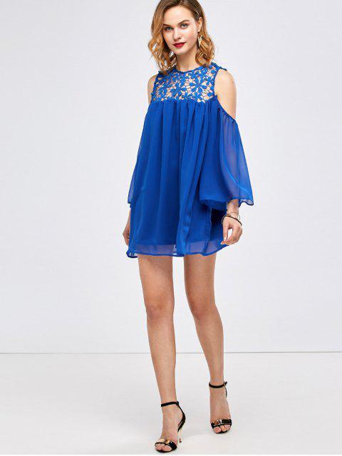 hot Cold Shoulder Lace Chiffon Tunic Blouse - BLUE 2XL Mobile