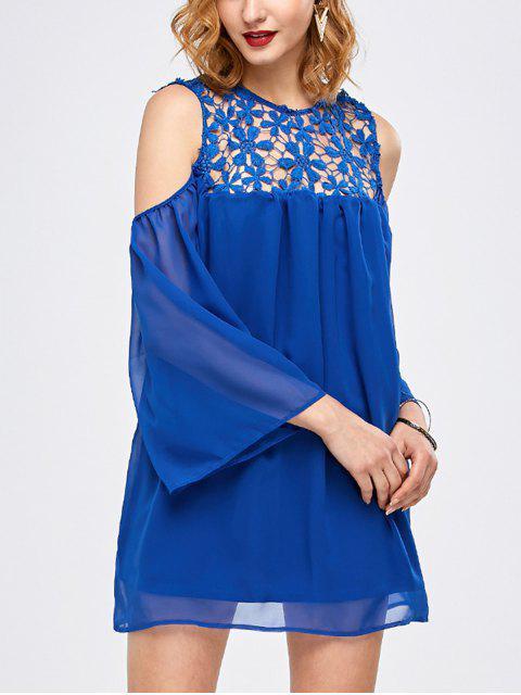 shop Cold Shoulder Lace Chiffon Tunic Blouse - BLUE M Mobile