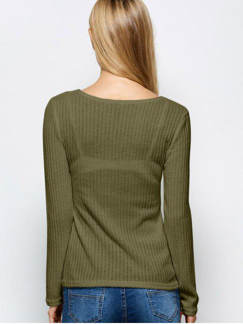 sale Ribbed Knit Lace Up Jumper - ARMY GREEN M Mobile