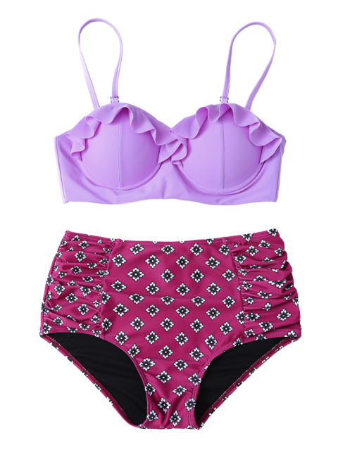 women's Ruffles High Waisted Underwired Bikini - PURPLE L Mobile
