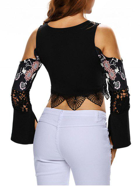 new Flare Sleeve Cold Shoulder Printed Cropped Top - BLACK L Mobile