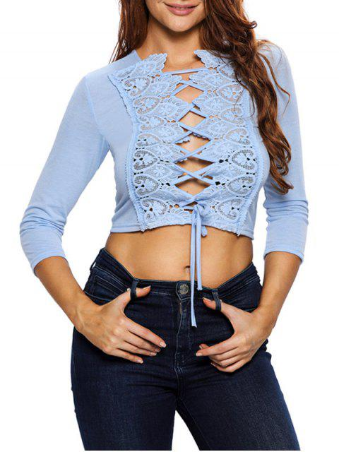 latest Lace Up Hollow Out Cropped Top -   Mobile