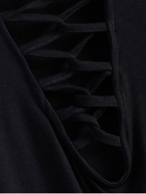 shop Cropped Plunge Tee - BLACK L Mobile