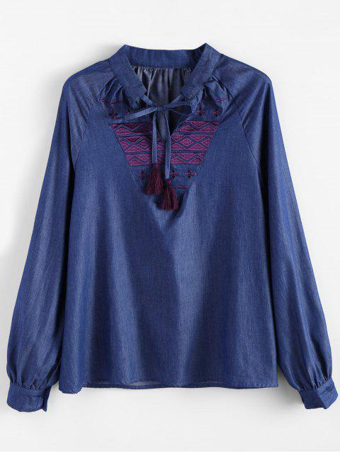 ladies Embroidered Bib Denim Blouse - DENIM BLUE S Mobile