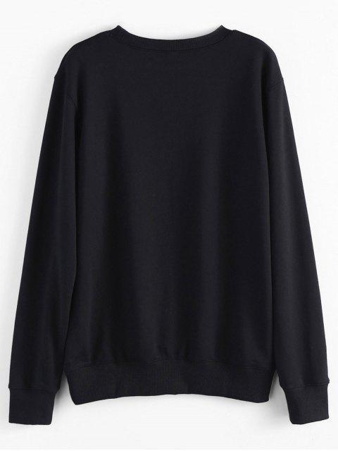 outfits Contrast Letter Pullover Sweatshirt - BLACK L Mobile