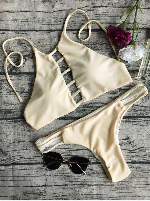 sale String Cut Out Bikini Set - APRICOT L Mobile