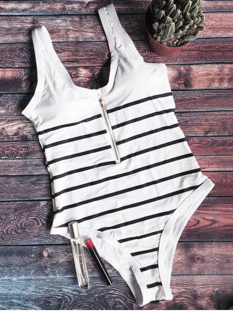 hot Zip Front Striped Swimsuit - WHITE AND BLACK L Mobile