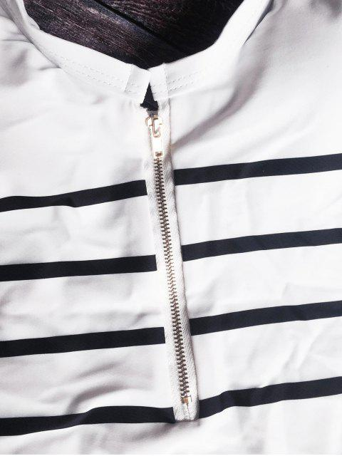 new Zip Front Striped Swimsuit - WHITE AND BLACK XL Mobile