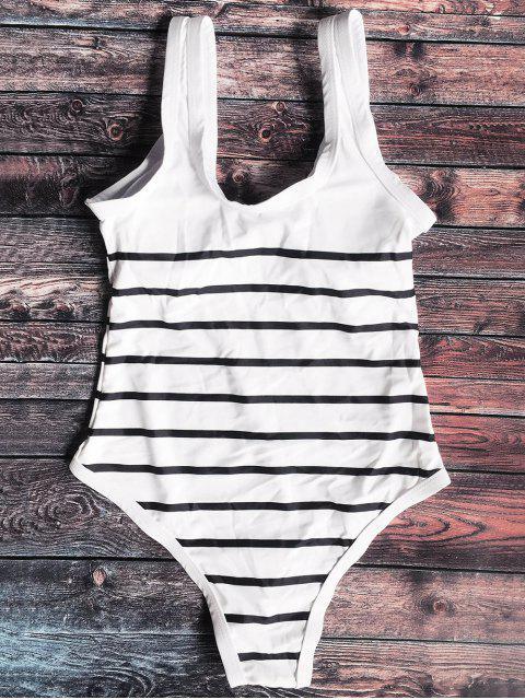 Maillot de bain rayé zippé avant - Blanc et Noir XL Mobile