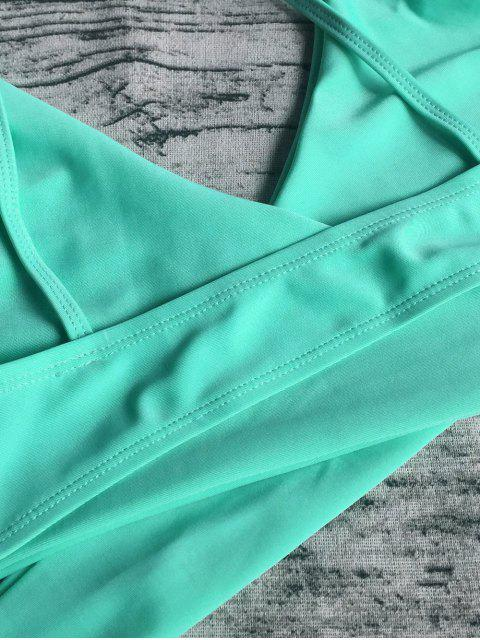trendy Wrap Tie Crossover Cami Bikini - LIGHT GREEN M Mobile