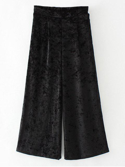 ladies Loose Velvet Wide Leg Pants - BLACK M Mobile