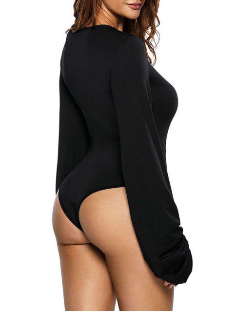 new High Leg Hollow Out Puff Sleeve Bodysuit - BLACK M Mobile