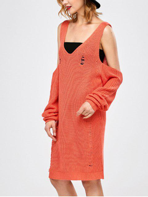 womens Distressed Cold Shoulder Chunky Sweater Dress - ORANGE RED L Mobile
