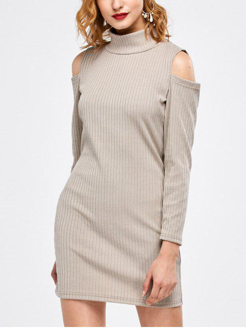 best Mock Neck Cold Shoulder Fitted Knitted Dress - LIGHT GRAY L Mobile