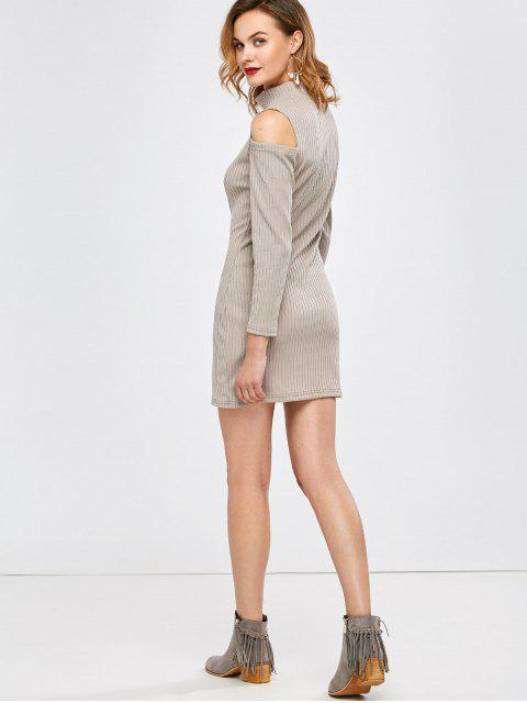 new Mock Neck Cold Shoulder Fitted Knitted Dress - LIGHT GRAY S Mobile
