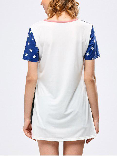 best Side Slit Graphic Star Tunic T-Shirt - WHITE S Mobile