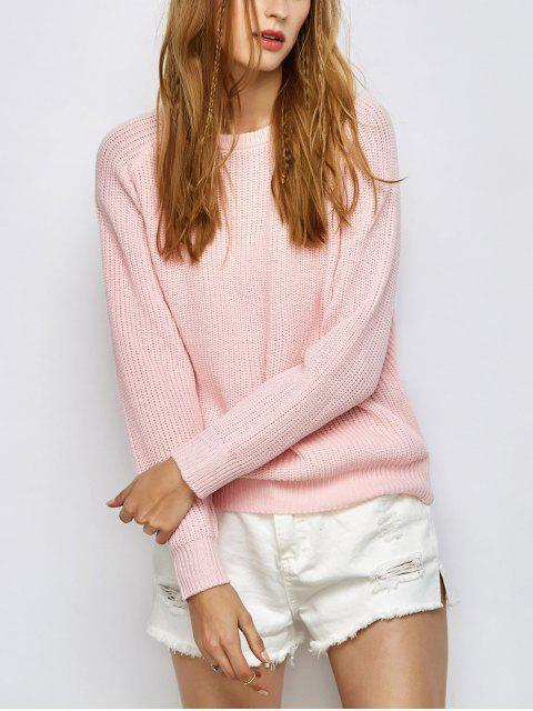 trendy Chunky Back Zipper Sweater - LIGHT PINK XL Mobile