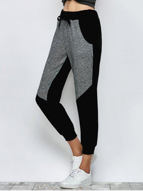 fancy Color Block Heathered Sporty Pants - BLACK XL Mobile