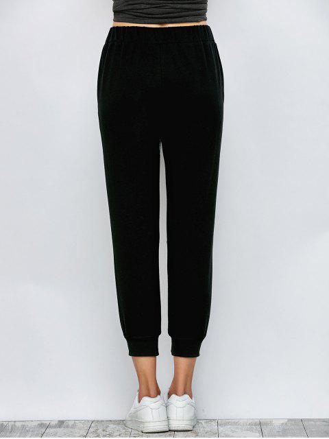 unique Color Block Heathered Sporty Pants - BLACK L Mobile
