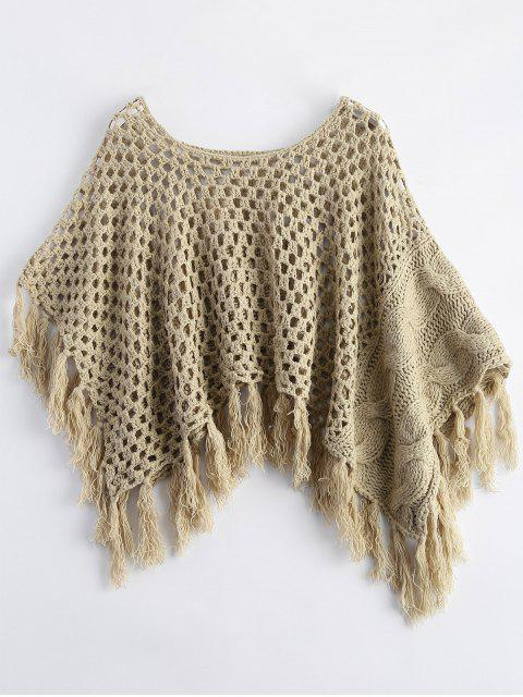 outfits Knitted Tassel Poncho Cape - GRAY ONE SIZE Mobile