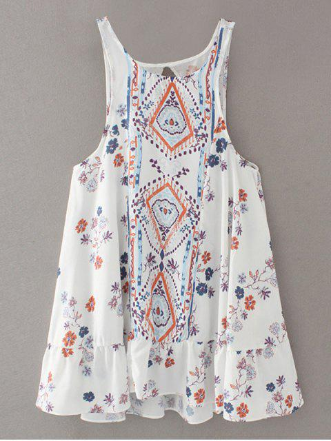 Vintage Print Mini-robe - Blanc M Mobile