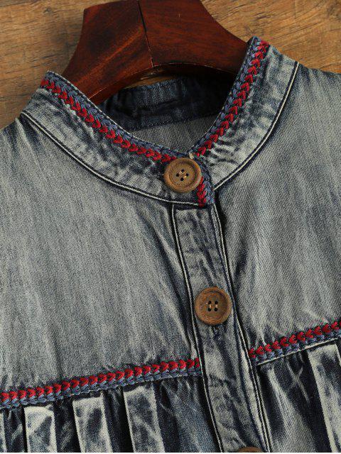 unique Denim Round Neck Long Sleeve A Line Dress - BLUE L Mobile