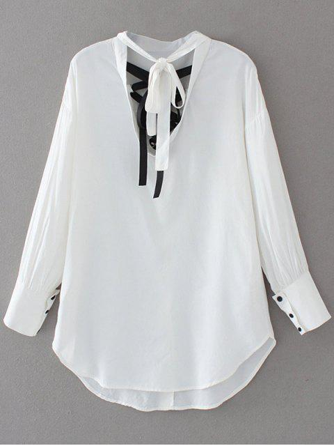 Recortable Bowknot de la blusa - Blanco M Mobile