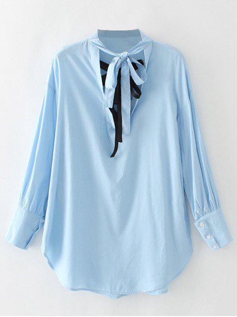 Neutraler Bowknot Bluse - Blau S Mobile