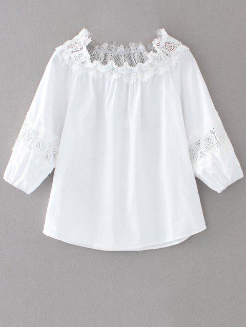 Off The Shoulder Lacework Blouse - Blanc S Mobile