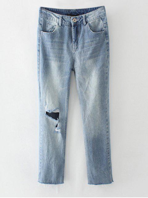 women Ripped Narrow Feet Pencil Jeans - BLUE GRAY L Mobile