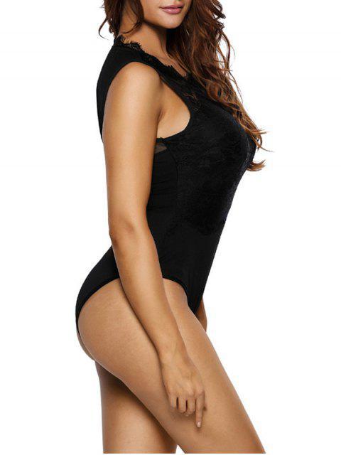women's Lace Panel Low Back Bodysuit - BLACK L Mobile