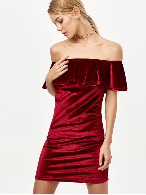 Robe enveloppe en velours épaules nues - Bourgogne L Mobile