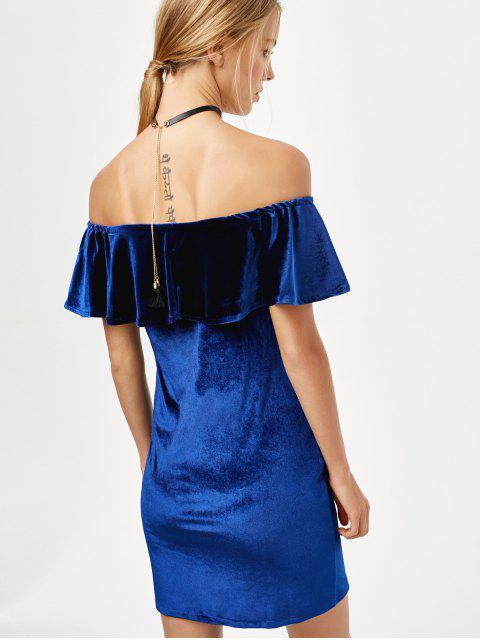 chic Off The Shoulder Velvet Bodycon Dress - ROYAL L Mobile