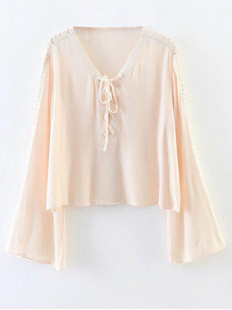ladies Lace-Up Cut Out Blouse - PINK S Mobile