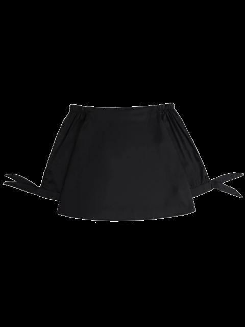 Off The Blouse épaule Avec Tie manches - Noir S Mobile
