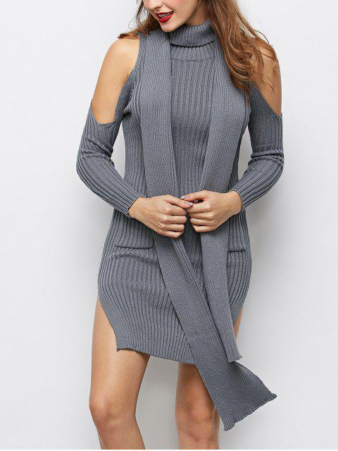 Cold Shoulder Fendre Sweater Dress - Gris L Mobile