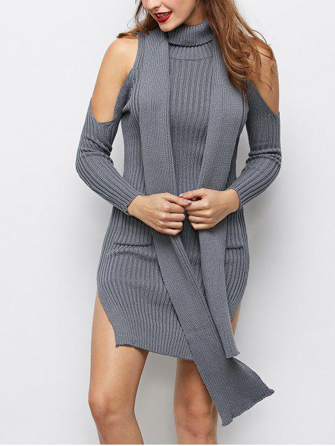 latest Slit Cold Shoulder Sweater Dress - GRAY S Mobile
