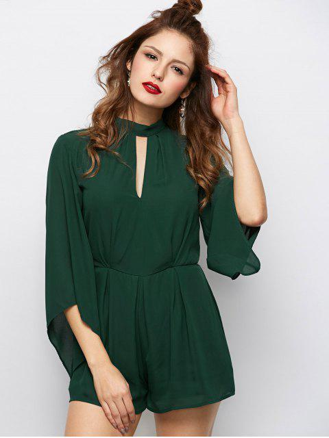 women Cut Out Stand Neck Tied Romper - ARMY GREEN L Mobile