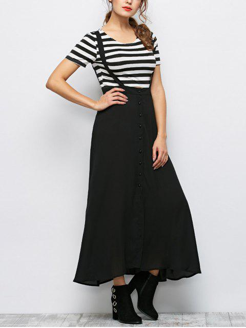 new Button Front Maxi Braces Skirt - BLACK S Mobile