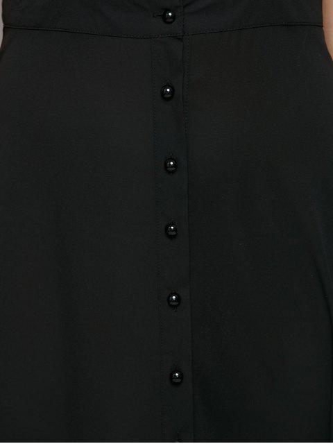 online Button Front Maxi Braces Skirt - BLACK M Mobile