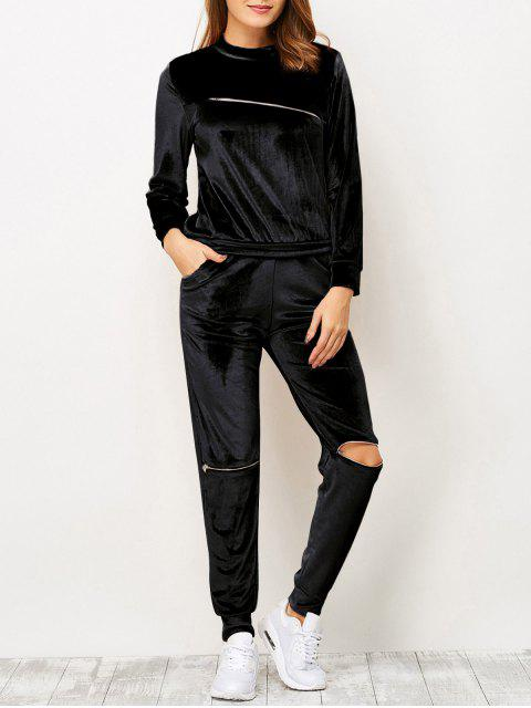 chic Zippers Velvet T-Shirt and Sports Pencil Pants - BLACK M Mobile