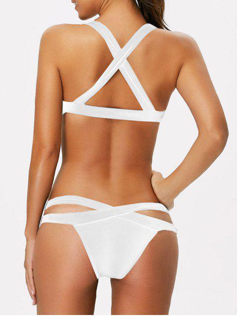 trendy Strappy Bandage Scoop Bikini - WHITE XL Mobile