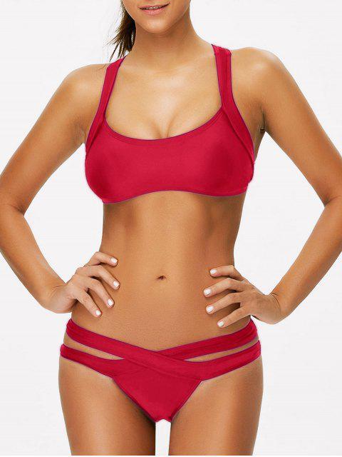 unique Strappy Bandage Scoop Bikini - RED L Mobile