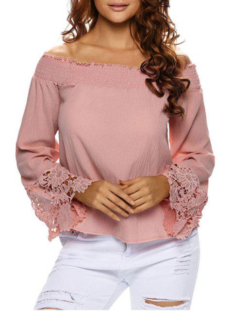 fashion Lace Cuff Off The Shoulder Blouse -   Mobile