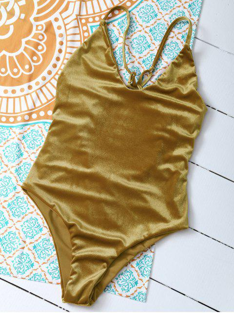 buy Reversible Cross Back Pleuche Swimwear - GOLD BROWN XL Mobile