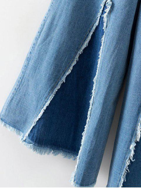 outfit High Rise Frayed Culotte Jeans - DENIM BLUE M Mobile
