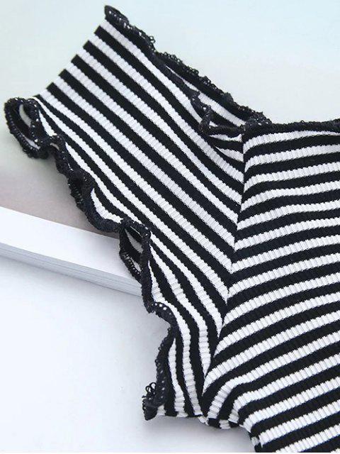 best Off Shoulder Ruffles Striped Crop Top - STRIPE M Mobile