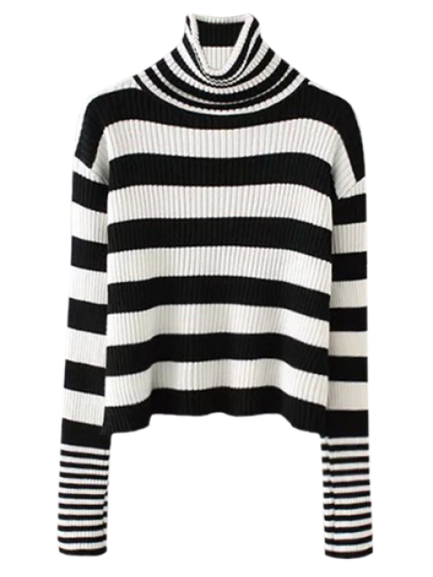 outfit Funnel Neck Ribbed Striped Sweater - BLACK ONE SIZE Mobile